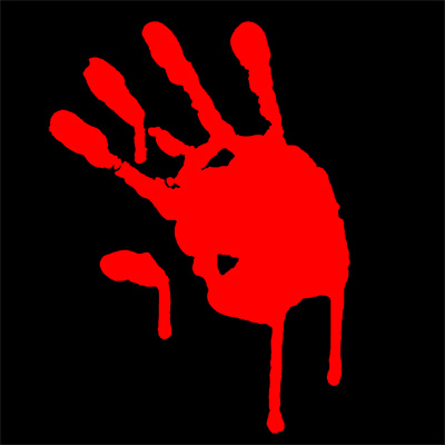 Bloody Hands (Set of 4) - Click Image to Close